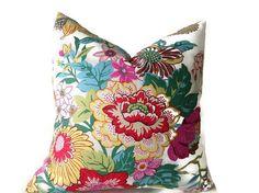 Pillows, Throw Pillows, Decorative Throw Pillow Covers  Designer Fabric  Floral  Pillows Blue, Yellow  Pillows