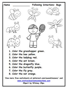 This free worksheet allows students to practice reading color words and bug vocabulary. Visit my freebie board at pinterest.com/susankhansen/.