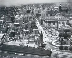 Looking west on Wisconsin Ave. Gimbels is visible as is the old Juneau Hotel.