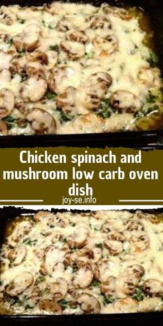 Chicken Spinach and Mushroom Low Carb Oven Dish - CENANIS FOOD recipes chicken recipes crockpot recipes easy recipes for dinner recipes healthy food recipes Spinach Stuffed Mushrooms, Spinach Stuffed Chicken, Chicken Spinach Recipes, Low Carb Chicken Recipes, Spinach And Mushroom, Low Carb Chicken Dinners, Stuffed Chicken Breasts, Spinach Dinner Recipes, Crock Pot Recipes