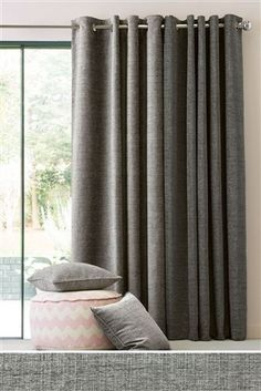 Buy Textured Chenille Eyelet Curtains from the Next UK online shop Grey Curtains Bedroom, Silver Curtains, Cute Curtains, Elegant Curtains, Lined Curtains, Curtains With Blinds, Bedroom Decor, Mocha Living Room, Living Room Grey