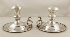 Pair Egyptian silver chambersticks Cairo 1920