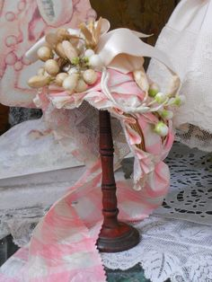 ~~~ Beautiful French Antique Silk and Lace Dress with Bonnet ~~~