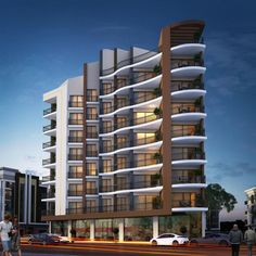 There are lots of design apartment building facade architecture that you can see here. This facade design are awesome contemporary and amazing. Modern Architecture Design, Facade Design, Concept Architecture, Facade Architecture, Modern Buildings, Residential Architecture, Exterior Design, Building Elevation, Building Facade