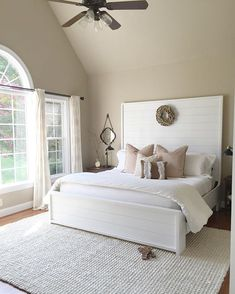 simple, classic bedroom with amazing headboard