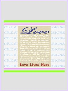 Love Lives Here 1 Corinthians 13 Wall Art by CreativeSparkDesigns
