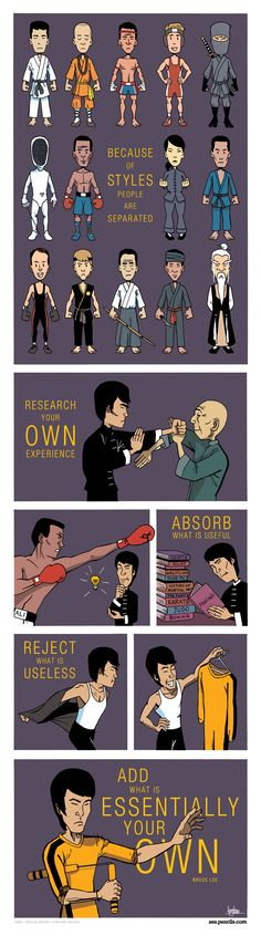 Because of styles, people are separated.  Research your own experience, absorb what is useful, reject what is useless, add what is essentially your own.  - Bruce Lee. Comic by Zen pencils