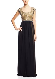On ideel: SUE WONG Cap Sleeve Sequin Bodice Gown