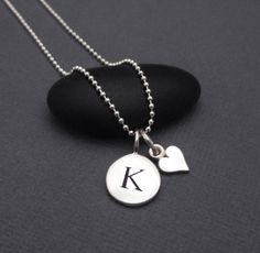 Sterling Silver Tiny Letter K Disc Charm by themoonflowerstudio