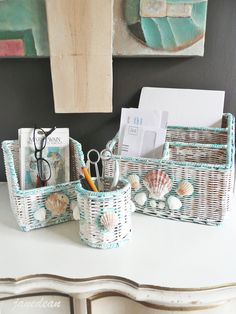 Clearance! Shabby Shell Desk Set - 3 hand painted vintage wicker organizers with genuine seashells. by janedean.etsy.com