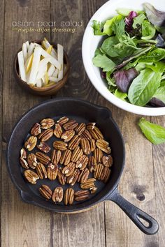 New! fresh, crisp and juicy #asianpears paired with maple-dijon dressing and toasted pecans! #vegan #glutenfree