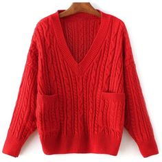 Pockets Cable Knit Sweater ($30) ❤ liked on Polyvore featuring tops, sweaters, red sweater, red top, cable knit sweater, chunky cable sweater and pocket sweater
