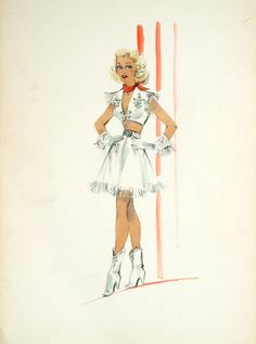 Edith Head sketch for Marie Wilson in My Friend Irma Goes West (1950)