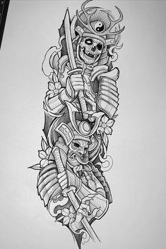 Samurai Tattoo Sleeve, Half Sleeve Tattoos Forearm, Half Sleeve Tattoos Drawings, Egyptian Tattoo Sleeve, Skull Sleeve Tattoos, Best Sleeve Tattoos, Body Art Tattoos, Warrior Tattoo Sleeve, Japan Tattoo Design