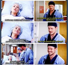 Mcsteamy and Mcdreamy's wife bonding while high on morphine