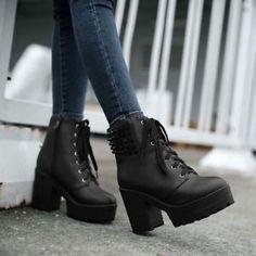 Grunge Chunky Heel Vegan Leather Boots | Vegan leather, Grunge and ...