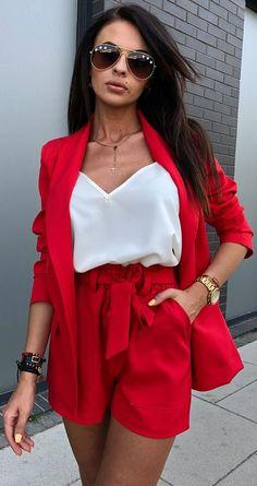 classy outfits for women . classy outfits for women casual . classy outfits for women summer . classy outfits for women business . classy outfits for going out . Look Blazer, Blazer And Shorts, Blazer Outfits, Cute Casual Outfits, Short Outfits, Casual Chic, Stylish Outfits, Red Blazer, Red Shorts Outfit