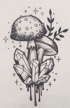 drawings sketches mushroom trippy drawing tattoo tattoos painting easy magic pencil chalk evil creepy