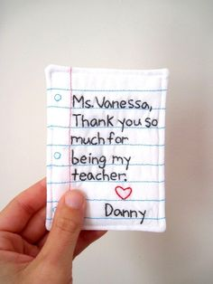 PERSONALIZED Teacher Gift Hand Embroidered Note, Eco Friendly Materials. $17.00, via Etsy.