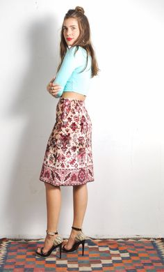 1970s Anne Klein Tapestry Skirt // sz Small by UXCVintage on Etsy