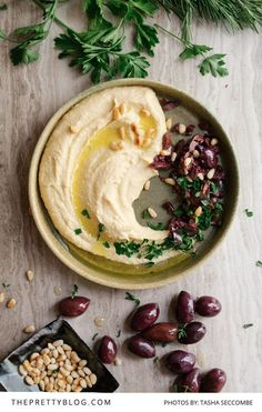 "Jerusalem Hummus Recipe - ""It is one of the best recipes for hummus that I've ever come across - served with with crushed olives, toasted pine nuts, chopped parsley and olive oil, is absolutely exquisite."""