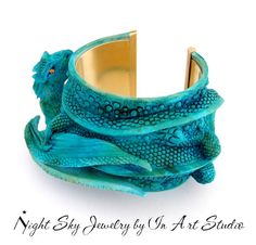 Turquoise Dragon Jewelry Cuff Bracelet- 3D Dragon Jewellery