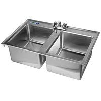 Regency 16 Gauge Drop In Stainless Steel Sink with 8 inch Faucet - 2 Compartment 14 inch x 16 inch x 10 inch Bowls