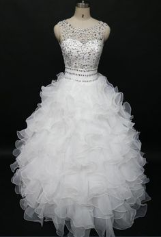 Beading Quinceanera Dresses 2017 White Wedding Ball Gown Ruffles Organza Beaded Crystals Quinceanera Gowns Vestidos De 15 Anos