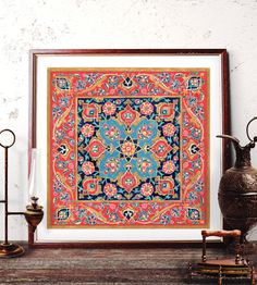 Traditional Turkish Tile Wall Art, Ottoman Floral Watercolor Painting, Mosque Tile Design Home Decor, Istanbul Prints and Original Painting