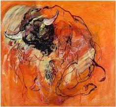 "Marjatta Tapiola ""Woman and Minotaurus"" 2005 oil and tempera on canvas 10x173cm"