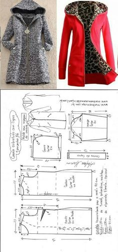 Sobretudo com capuz simples – DIY – molde, corte e costura – Marlene Mukai // Татьяна из Волжского Coat Patterns, Dress Sewing Patterns, Sewing Patterns Free, Sewing Tutorials, Clothing Patterns, Free Sewing, Coat Pattern Sewing, Sewing Projects, Shirt Patterns