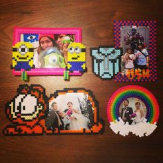 Photo frames perler beads by Nemo 3d Perler Bead, Pearler Beads, Fuse Beads, Melty Bead Patterns, Hama Beads Patterns, Beading Patterns, Beads Pictures, Iron Beads, Melting Beads
