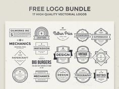 A free collection of 17 vintage/retro vector logos that you can use for branding purposes. Free PSD released on AlienValley. Free Logo Templates, Print Templates, Typography Inspiration, Typography Design, Design Inspiration, Lettering, Blog Design, Web Design, Graphic Design