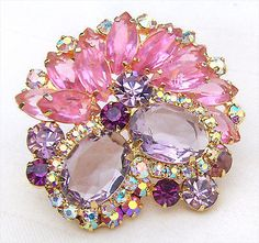 D&E Juliana Brooch Open Back Pink AB Rhinestones Lavender Faceted Stones $61.00 eBay 4/16
