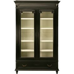 c.1890 Ebonized French Bibliotheque or China Cabinet