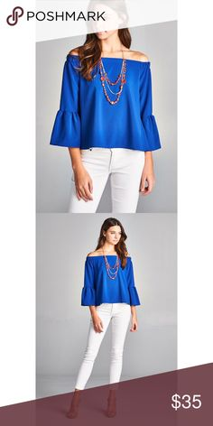 Royal Blue Bell Sleeve Off the Shoulder Top Brand new! Super cute!   15% off for bundle purchases of 2 or more items! Purchasing 7 or more items? Please make an offer for 20% off of your bundle with the bundle offer feature and I will accept.  FEEL LIKE MAKING AN OFFER? Please do it through the make an offer feature as I will no longer negotiate prices in the comments section.   PRICE IS FINAL ON ITEMS $15 or less unless bundled. Hannah Beury Tops