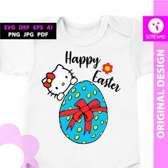 HAPPY EASTER SVG Hello Kitty cut files easter egg vector