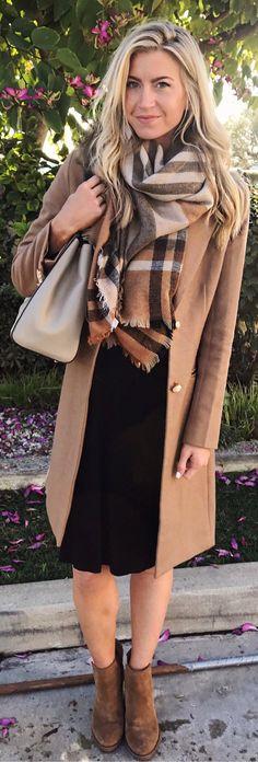 Camel Coat / Black Dress / Brown Suede Booties / Printed Scarf / Light Leather Tote Bag