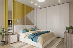 Декор ламелями стены за кроватью. 10 примеров