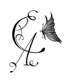 Tatouage de lettres entrelac es avec une plume dessins tatouage pinterest - Modele tatouage lettres entrelacees ...