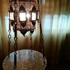 beautiful marble hanging table with light in excellent condition.