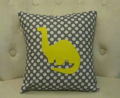 12x12 Yellow Dinosaur Grey & White Polka Dot by blackrufflebrigade, $20.00