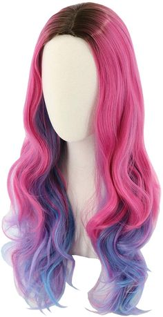 Topcosplay Audrey Wig Inspired by Descendants 3 for Women Adults Long Wavy Pink Mixed Blue Wig Curly Costume Halloween Fancy Dress Wigs Les Descendants, Descendants Costumes, Halloween Party Costumes, Halloween Fancy Dress, Halloween Wigs, Audrey Wig, Kawaii Wigs, Fancy Dress Wigs, Mode Kawaii