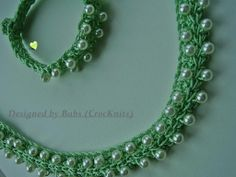 """New""Apple Green Crochet Necklace with matching bracelet."