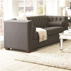 504901 Cairns Stationary Sofa with Tufted Back and Lumbar Pillows $340 for Living Room