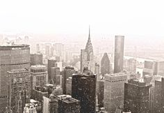 Winter - The New York City skyline in the snow.