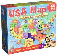 MasterPieces PuzzleCompany USA Map Jigsaw Puzzle (60-Piece)