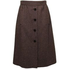 Dolce & Gabbana Brown Wool Skirt ($620) ❤ liked on Polyvore