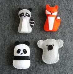 Panda, Koala, Fox & Raccoon PDF Sewing Tutorial, Felt Toys Ornaments