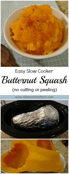 Easy Slow Cooker Butternut Squash (no peeling or cutting) | A Reinvented Mom